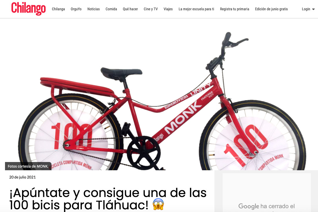 100 Bicis para Tlahuac – Reportaje en Chilango.com