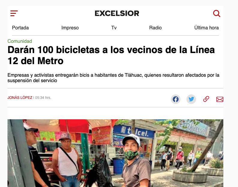 100 bicis para Tlahuac en Excelsior