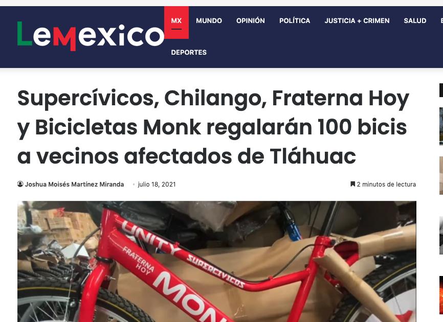 LeMexico.mx comparte 100 bicis para Tlahuac